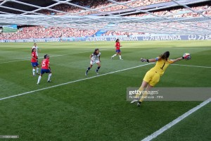 PARIS, FRANCE - JUNE 16:  Claudia Endler of Chile makes a save during the 2019 FIFA Women's World Cup France group F match between USA and Chile at Parc des Princes on June 16, 2019 in Paris, France. (Photo by Richard Heathcote - FIFA/FIFA via Getty Images)